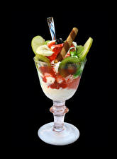 Pictures Confectionery Ice cream Fruit Black background Stemware Food