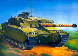 Hintergrundbilder Panzer Gezeichnet Britisch Challenger 1