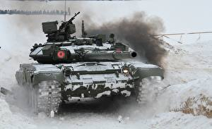 Pictures Tank T-90 Snow Russian Army