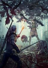 Fotos The Witcher 3: Wild Hunt Geralt von Rivia Monsters Wolf Schwert Fackel Fantasy