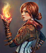 Images The Witcher Fire Magic Redhead girl Triss Games Girls Fantasy