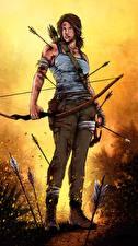 Bilder Tomb Raider 2013 Lara Croft Bogen Waffen Spiele Mädchens