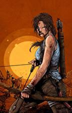 Bilder Tomb Raider 2013 Lara Croft Bogen Waffen Unzufrieden computerspiel Mädchens