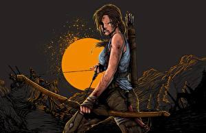 Bilder Tomb Raider 2013 Lara Croft Bogen Waffen Stirnrunzeln Nacht computerspiel