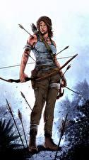 Hintergrundbilder Tomb Raider 2013 Lara Croft Bogen Waffen Holzpfeil Spiele Mädchens