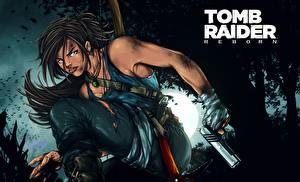 Fotos Tomb Raider 2013 Pistole Lara Croft Spiele Mädchens