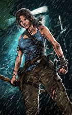 Hintergrundbilder Tomb Raider 2013 Regen Lara Croft computerspiel Mädchens