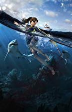 Photo Tomb Raider Underworld Water Sharks Lara Croft vdeo game Girls