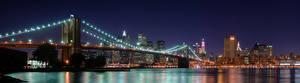 Fotos Vereinigte Staaten Brücken New York City Nacht Brooklyn