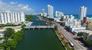 Hintergrundbilder Vereinigte Staaten Brücken Haus Miami Florida Straße Bucht