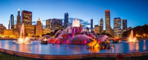 Fotos Vereinigte Staaten Gebäude Abend Springbrunnen Chicago Stadt Buckingham fountain