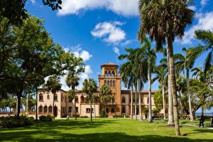 Hintergrundbilder USA Gebäude Florida Palmengewächse Rasen Bäume Shell Beach Sarasota