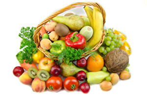 Wallpaper Vegetables Fruit Tomatoes Coconuts Pears Apples Apricot Grapes Kiwi White background Wicker basket