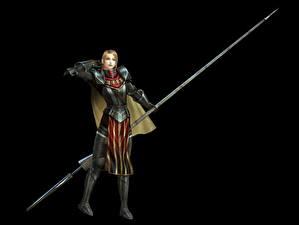 Image Warriors Bladestorm Spear Black background Armour Nightmare, Philippa (England) Games Girls Fantasy 3D_Graphics