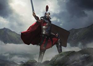 Fotos Krieger Total War: Arena Schwert Umhang Helm Germanicus computerspiel