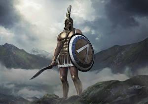 Photo Warrior Total War: Arena Shield Swords Helmet Leonidas Games