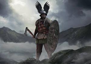 Photo Warriors Total War: Arena Battle axes Shield Helmet Vercingetorix Games