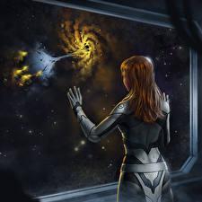 Fotos Fenster Hinten Braunhaarige Fantasy Kosmos Mädchens