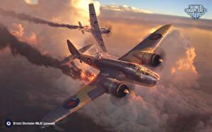 Hintergrundbilder World of Warplanes Flugzeuge Jagdflugzeug Bomber Deutsch Britisch Bristol Blenheim Mk.IV,  Messerschmitt Bf 109 E Emil Spiele