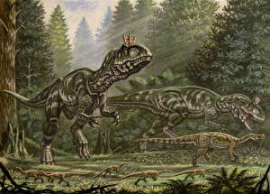 Images Ancient animals Dinosaurs Painting Art Cryolophosaurus, Glacialisurus