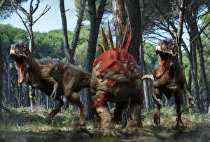 Fonds d'écran Anciens animaux Dinosaure Rictus Stegosaurus 3D_Graphiques
