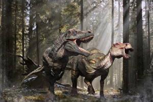 Fonds d'écran Anciens animaux Dinosaure Tyrannosaurus rex Rictus Edmontosaurus 3D_Graphiques