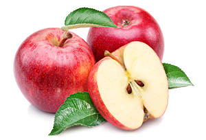 Wallpapers Apples Closeup White background Red Three 3 Food