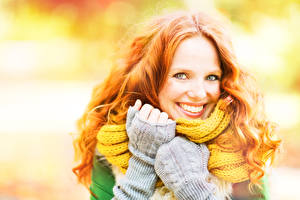 Pictures Autumn Redhead girl Smile Face Glove female