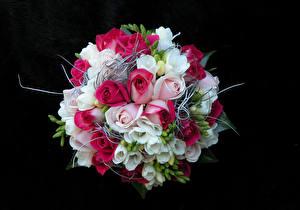Fotos Sträuße Rose Freesien Schwarzer Hintergrund Blumen
