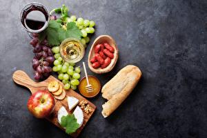 Bilder Käse Brot Stillleben Weintraube Honig Wein Grauer Hintergrund Schneidebrett