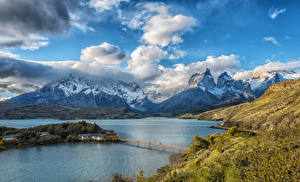 Image Chile Parks Mountains Sky Lake Bridges Landscape photography Clouds Lake Pehoe Torres del Paine National Park Nature