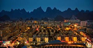 Fotos China Haus Berg Nacht Yangshuo Städte