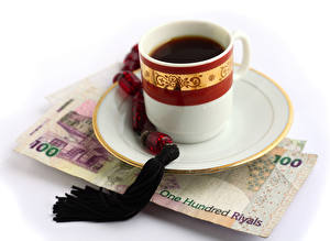 Picture Coffee Money Paper money White background Cup Saucer Food