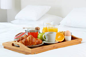 Pictures Croissant Honey Fruit Juice Breakfast Cup Egg Tray Food