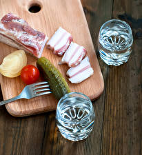 Images Cucumbers Vodka Vegetables Cutting board Salo - Food Shot glass
