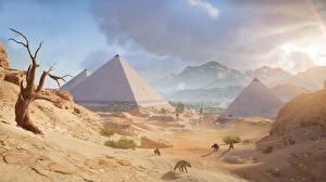 Hintergrundbilder Ägypten Wüste Assassin's Creed Origins Pyramide bauwerk Spiele
