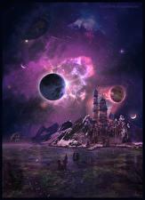 Bureaubladachtergronden Fantastische wereld Planeten Fantasy