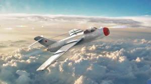Bilder Flugzeuge Jagdflugzeug War Thunder Russischer Wolke La-15 Spiele