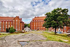 Hintergrundbilder Finnland Helsinki Gebäude Bäume Straße