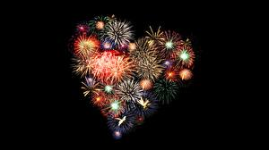 Pictures Fireworks Heart Black background