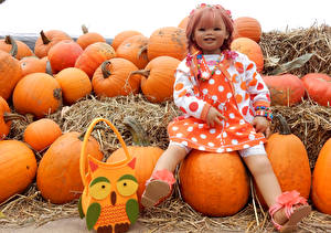 Wallpaper Parks Autumn Pumpkin Handbag Little girls Doll Grugapark Essen Nature