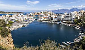 Bilder Griechenland Gebäude Schiffsanleger Boot Bucht Ayios Nikolaos Crete Städte