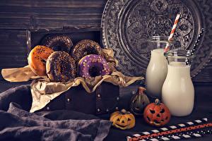 Picture Halloween Doughnut Milk Pumpkin Design Bottles Food