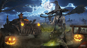 Pictures Halloween Witch Crossout Hat Night time Moon Games 3D_Graphics Fantasy