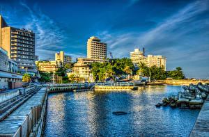 壁纸、、日本、建物、川、桟橋、ハイダイナミックレンジ合成、Wakayama、都市