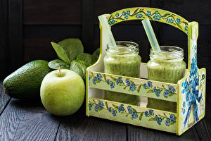 Pictures Apples Avocado Smoothy Highball glass Jar Wicker basket Food