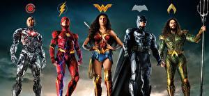 Desktop wallpapers Justice League 2017 Wonder Woman hero Gal Gadot Ben Affleck The Flash hero Batman hero Jason Momoa (Aquaman), Ray Fisher (Cyborg) Movies Celebrities Girls