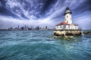 Pictures Lighthouses USA HDR Chicago city Illinois, Harbor Lighthouse Cities