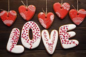 Sfondi desktop Amore Festa di san Valentino Biscotti Parole Inglese Cuore Cibo