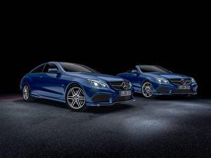Обои Mercedes-Benz Синяя Кабриолет Седан W207 E-Class W212 Автомобили